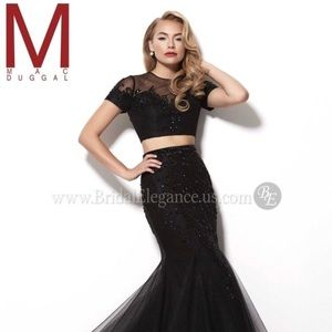 Prom/Evening Black 2 piece dress/ gown MAC Duggal
